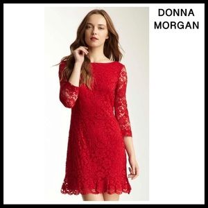 DONNA MORGAN RED LACE FLARED HEM COCKTAIL DRESS